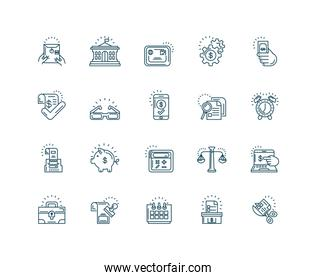 tax day icons set, line style icon
