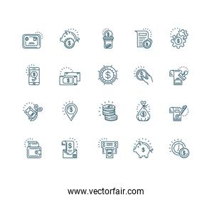money coins and icons set, line style design