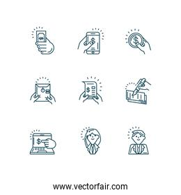business man and woman and tax day icon set, line style
