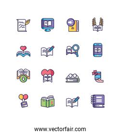 books icon set, line and fill style