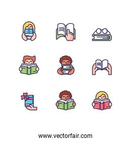 people reading and books icon set, line and fill style