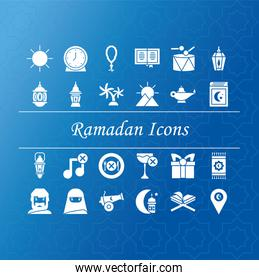 ramadan icons set over blue background, silhouette style
