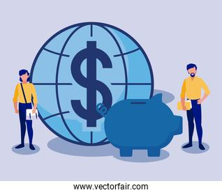 Corporate businessmen with piggy and global sphere vector design