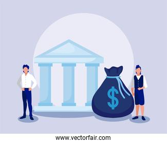 Corporate businessmen with money bag and bank vector design