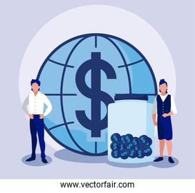 Corporate businessmen with piggy and coins jar vector design