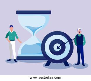 Corporate businessmen with target and sand hourglass vector design