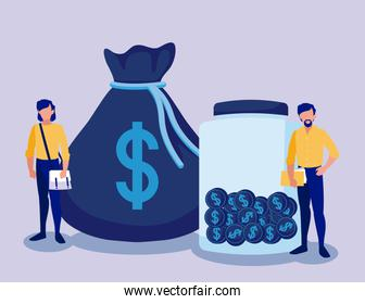 Corporate businessmen with money bag and coins jar vector design