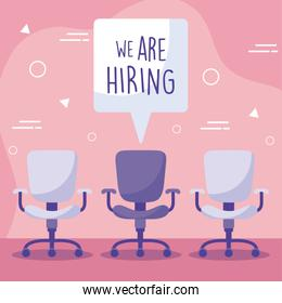 We are hiring message with office chairs vector design