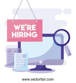 We are hiring message with computer and lupe vector design