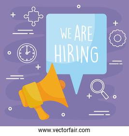 We are hiring message with megaphone vector design