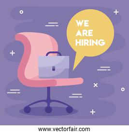 We are hiring message with office chair and suitcase vector design