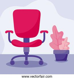 We are hiring message with office chair and plant vector design