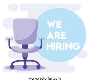 We are hiring message with office chair vector design