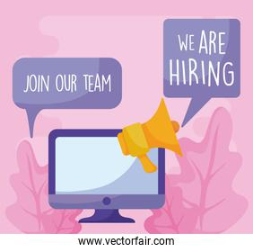 We are hiring message with computer and megaphone vector design