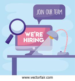 We are hiring message with computer lupe and desk lamp vector design