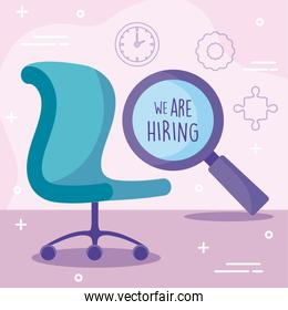 We are hiring message with office chair and lupe vector design