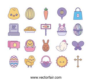 Happy easter flat style icon set vector design