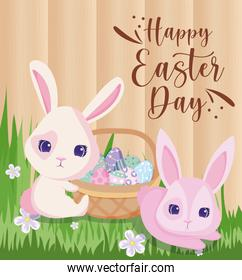 Happy easter rabbits with eggs basket vector design