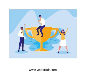 group of people with gold trophy, successful business team