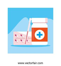 medicines and bottle of pills