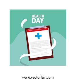 world health day label with clipboard and clinic history