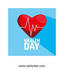 world health day label with heart and blood pressure