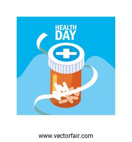 world health day label with medicines
