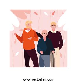 old men with man son fun together, generations