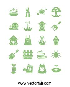 icon set of gardening concept, silhouette style