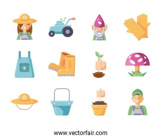 gardening ornaments and equipment icon set, flat detail style