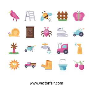tractor and gardening icon set, flat detail style