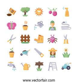 flowers and gardening icons set, flat detail style