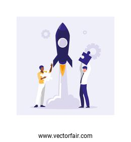 businessmen with flying rocket, success of business