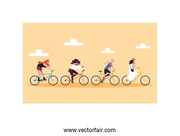 women with bicycle, women with healthy lifestyle