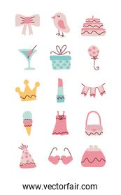 set of icons of color pink for girl