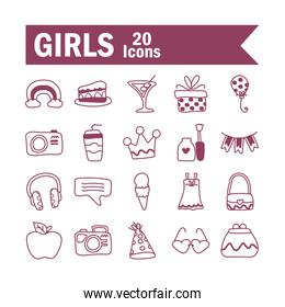 set of icons of girl on white background, line style icon