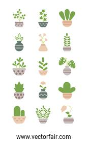 set of icons houseplants with potted