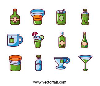 cocktails and drinks icon set, fill style