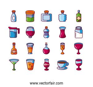 liquor drinks and beverages icon set, fill style