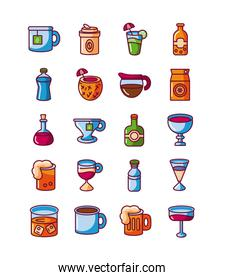 hot drinks and beverages icon set, fill style
