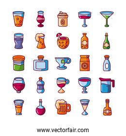 drinks and cocktails icons set, fill style