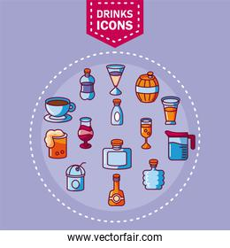 drinks icons set, fill style and colorful design