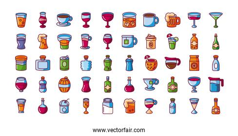 drinks and beverages concept of icons set, fill style
