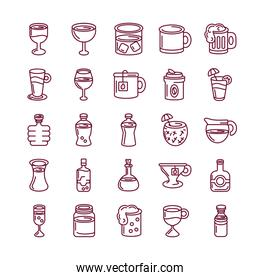 hot drinks and beverages icon set, line style