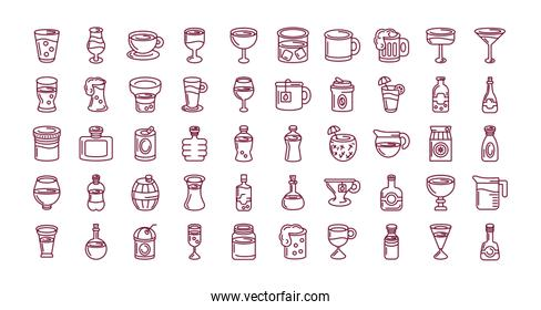 drinks and beverages concept of icons set, line style