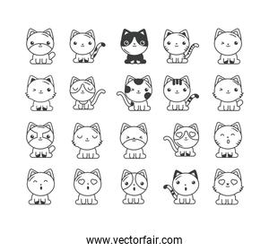 set of cute cats on white background, line style icon