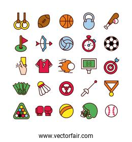 bundle of sports set line and fill icons