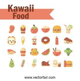 set of icons kawaii food on white background