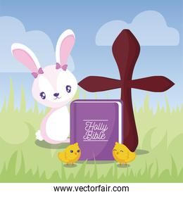 happy easter design of cartoon rabbit, cute chickens and holy bible, colorful design