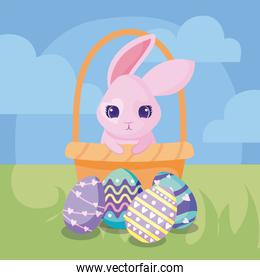 happy easter design of basket with cartoon rabbit and easter eggs, colorful design